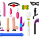 A set of various sex toys, dildos and bdsm accessories